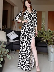 Women's Floral Black Dress , Sexy/Casual/Party/Maxi V Neck/Surplice Neck ¾ Sleeve