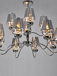 Vintage Chandelier,12 Light, Classic Fabric Metal Painting