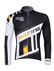 CHEJI Men 's Personality High Quality Quick Dry Terylene Long Sleeve Cycling Jersey—White+Yellow