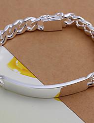 Generous Brief  Men's Cattlehide Silver Plated Brass ID Bracelets(Silver)(1pc)