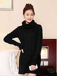 One-xuan Women's Casual High Neck Lace Knitwear