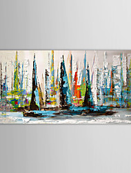 Oil Painting Landscape Sailing Boat with Stretched Frame Ready to Hang Hand-Painted Canvas
