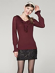 OSA® Women's Korean V-neck Frills Pure Color Loose Bottoming Sweaters