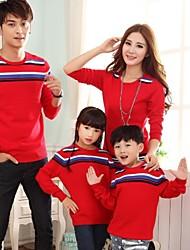 la mode et les parents joker enfants de la famille contrastent bande de couleur rond pull col