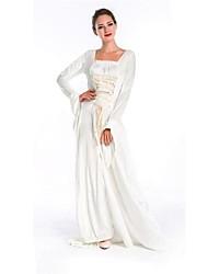 mangas largas de hadas de la princesa fiesta de satén blanco traje de halloween