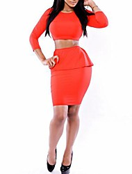 Women's Sexy Fashion Foreign Trade Net Color Suit (Shirt&Skirt)
