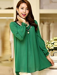 Women's Solid Black/Green T-shirt , Casual/Plus Sizes Long Sleeve Beaded