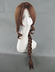 última fantasyⅶ aerith gainsborough larga trenza cosplay peluca marrón 90cm