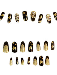 24PCS Special Design Gold Star Night Sky Glitter False Nail Art Tips