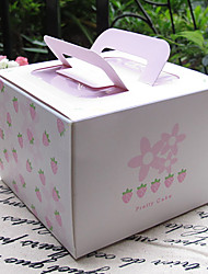 Pink Strawberry Cake Favor Boxes With Handle-Set Of 5