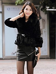 TaiChang™ Women's Fox Fur Collar Rex Rabbit Fur Coat