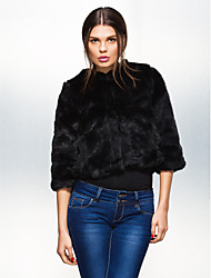 Long Sleeve Collarless Office Faux Fur Jacket