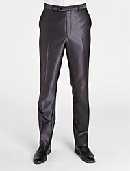 poliéster gris oscuro adaptado ajuste pantalón