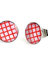 Orecchini in acciaio inox plaid rosso di moda