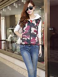 Women's Camouflage Colors Fleece Thicken Hooded Vest Plus Size Warm Winter Coat Fashion Outerwear