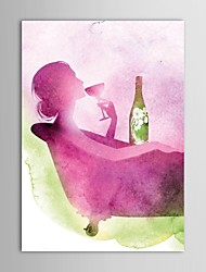 IARTS®Hand Painted Oil Painting People The Girl Lying in the Bath to Drink Wine with Stretched Frame
