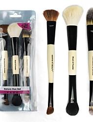 3pcs High Quality Professional Portable Double-end Makeup Brush Set