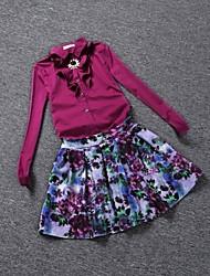 Women's With Belt&Necklace Front Ruffles Suit (Blouse & Skirt)