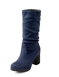 VROUWEN - Half-kuitlaarzen - Hakken/Ronde Teen/Fashion Boots - Laarzen ( Zwart/Blauw/Rood ) - met Chunky Heel - en Imitatieleer