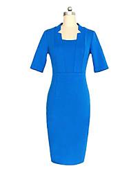 Women's Work Sheath Dress,Solid Asymmetrical Midi ½ Length Sleeve Spring / Summer / Fall