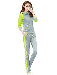 Women's Contrast Color Stitching Casual Hoodie Clothing Sets(Hoodie&Pants)