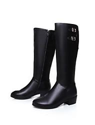 zapatos de mujer tacón bajo la rodilla botas altas de cuero del dedo del pie redondo