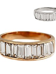 Simple Metal With Artificial Diamond Rings (1Pc)(More Colors)
