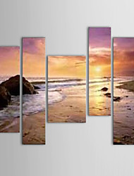 IARTS®Oil Paintings Set of 5 Modern Landscape Sand Beach Sea Hand-painted Canvas Ready to Hang