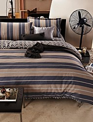 HengYuanXiang® Duvet Cover Set, 4-Piece Stripe Grey Urban Style, 100% Cotton