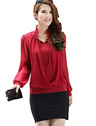 Women's Solid Red Shirt , Asymmetrical Long Sleeve Ruffle/Pleated
