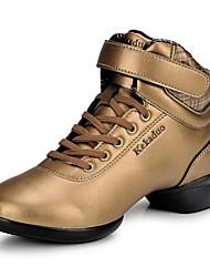 Chaussures de danse ( Noir/Rouge/Or ) - Non personnalisable - Talon bas - Cuir - Jazz