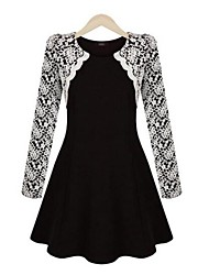 Women's Europe Elegant Round Collar Long Sleeve Lace Slim Dress
