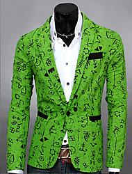 WANT Men's Long Sleeve Slim Print Temperament Suit Blazer