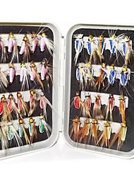 40 pcs Mouches leurres de pêche Mouches Kits de leurre Bleu Foncé Vert Incarnadin Jaune Rouge g Once mm pouce,Métal Pêche à la mouche