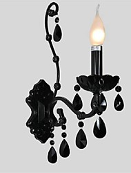 lâmpada de parede de cristal negro