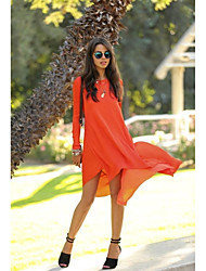 Women's Fashion Round Neck Long Sleve Chiffon Slim Dress