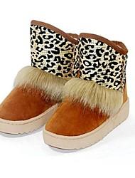 sapatos de neve salto baixo das mulheres reunindo botas com estampa de leopardo mais cores disponíveis