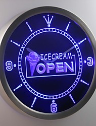 nc0249 Ice Cream OPEN Cafe Shop Neon Sign LED Wall Clock