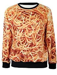 casuais plus size o-pescoço manga cheio 3d macarrão camisolas impressão das mulheres