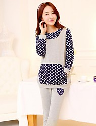Maternity Hooded Small Dots Cute Casual Sport Suit