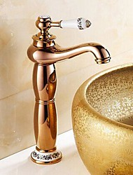 Rose Gold One Hole Single Handle Bathroom Sink Faucet