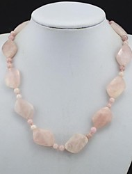 Toonykelly® Fahionable Shining Natural Real Pink Amethyst Bead Necklace(1 Pc)