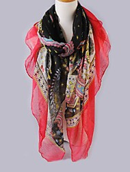 Women Red Edge Voile Scarves Bali Yarn Scarf Shawls