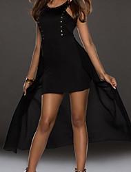 Women's Solid Black Dress , Sexy/Bodycon Round Neck Sleeveless