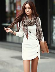 RLK Long Sleeve Dress  829 Black,White,Khaki,Light Gray