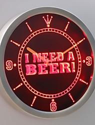 nc0409 Ich brauche ein Bier Bar Pub Club Leuchtreklame LED-Wand Uhr