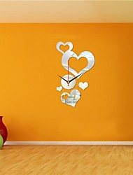 3D DIY Modern Style New Acrylic Hearts Mirror Wall Clock