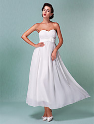 Sheath/Column Plus Sizes Wedding Dress - Ivory Ankle-length Sweetheart Chiffon