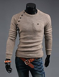Men 's Button Joining Together Solid Color  Fashion Cultivate One's Morality Sweater