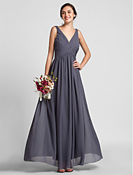 Floor-length Chiffon Bridesmaid Dress - Dark Grey Plus Sizes Sheath/Column V-neck